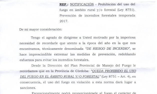 Notificación recibida desde la Dirección del Plan Provincial de Manejo del Fuego